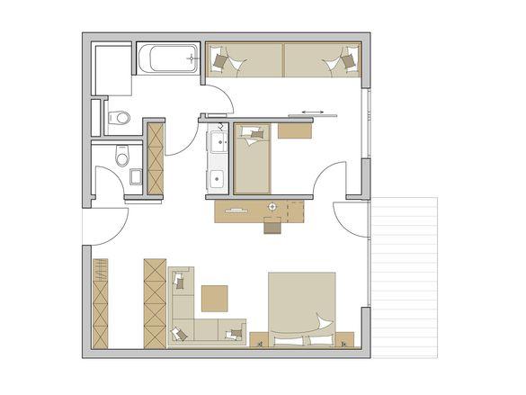 """Family-Suite """"Superior"""" 3-Raum Grundriss #1"""